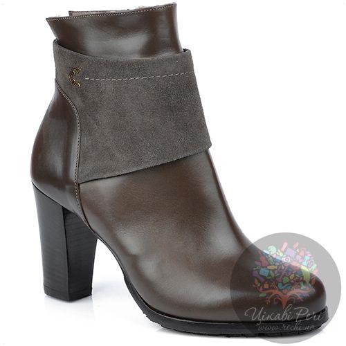 Ботинки Norma J Baker на молнии зимние из кожи и замши коричневого цвета, фото