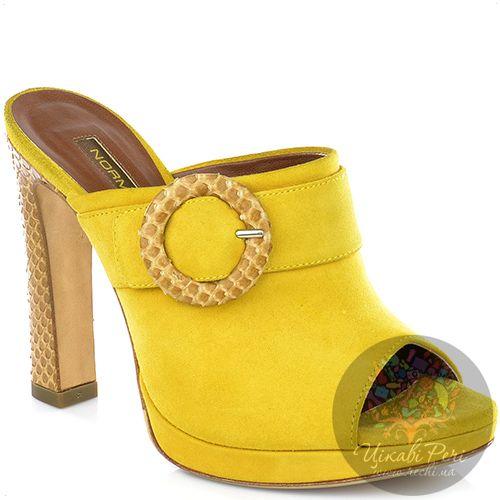 Мулис Norma J Baker из желтой замши на роскошном каблуке под кожу змеи, фото