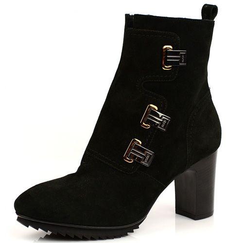 Замшевые ботинки на меху Norma J Baker темно-зеленые, фото