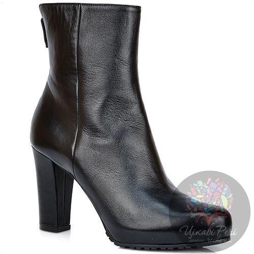 Ботинки Nocturne Rose на каблуке и скрытой платформе осенние кожаные, фото