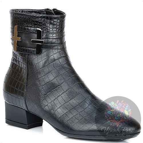 Ботинки Nocturne Rose на низком каблуке кожаные crocostyle, фото