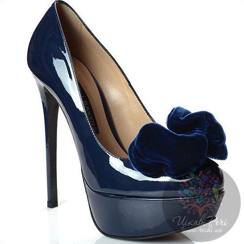 Туфли Norma J Baker на шпильке кожаные лаковые темно-синие с бантом, фото