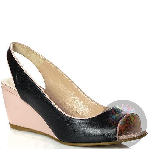 Туфли Norma J Baker открытые кожаные черные на средней танкетке цвета пудры, фото