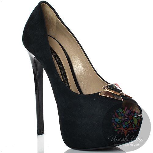 Туфли Norma J Baker с открытым носком замшевые черные на высокой шпильке и скрытой платформе, фото