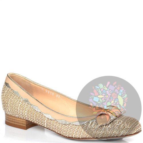 Туфли-балетки Nouchka из кремового текстиля и пудровой кожи на низком каблуке, фото
