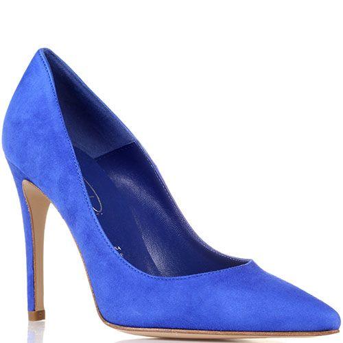 Туфли-лодочки Bianca Di из замши кобальтового цвета, фото