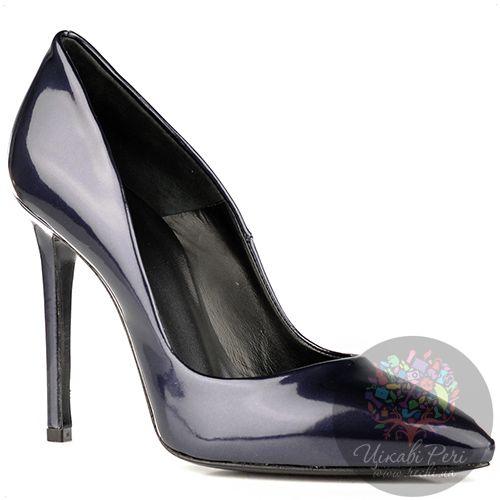 Туфли Ovye на шпильке элегантные лаковые темно-синие, фото