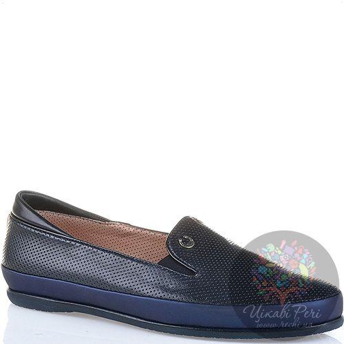 Слиперы черного цвета Pakerson кожаные с синей отделкой, фото