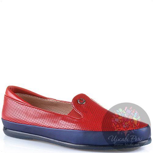 Слиперы Pakerson кожаные красные перфорированные мягкие с синей отделкой, фото