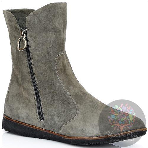 Ботинки Pakerson зимние замшевые серые на двух застежках-молниях, фото