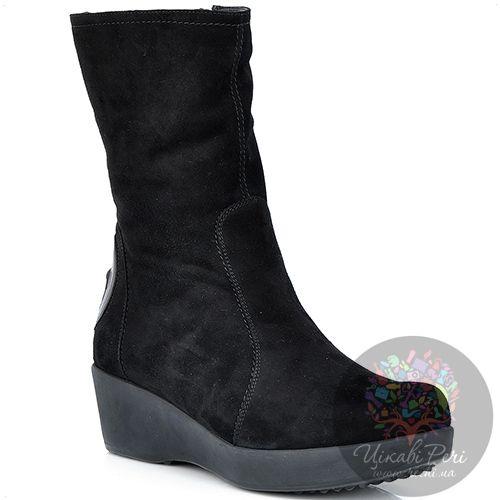 Ботинки Pakerson замшевые зимние черные на невысокой танкетке, фото
