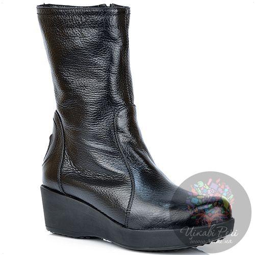 Ботинки Pakerson кожаные зимние черные на невысокой танкетке, фото