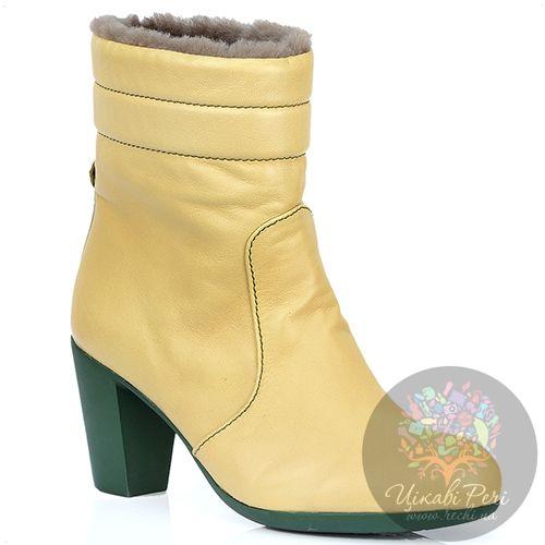 Ботинки Pakerson зимние кожаные цвета шампань на удобном каблуке, фото