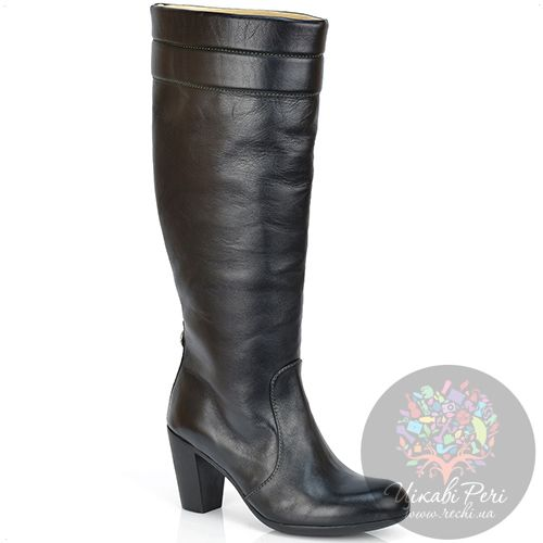 Сапоги Pakerson осенние кожаные черные на английском каблуке, фото