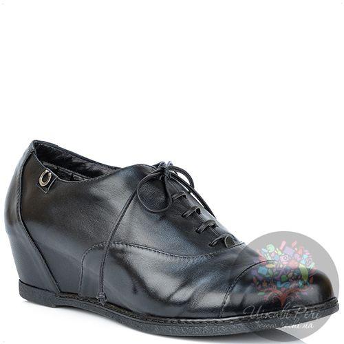 Ботинки Pakerson низкие утепленные мехом кожаные на скрытой танкетке, фото