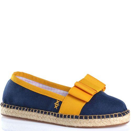 Эспадрильи Escadrille текстильные темно-синие с ярким желтым бантом, фото