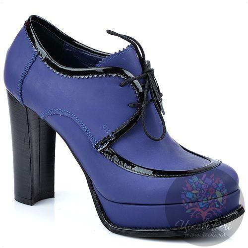 Ботильоны Studio Pollini на шнуровке яркие синие с черной лаковой отделкой, фото