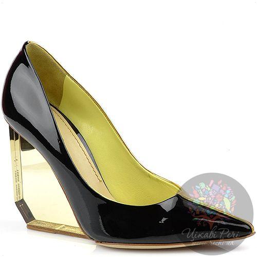 Туфли Pollini черно-золотые на трендовой прозрачной танкетке, фото
