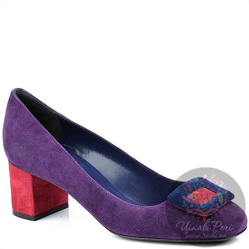 Туфли Studio Pollini замшевые пурпурные с красным невысоким каблуком, фото