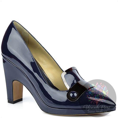 Туфли Pollini лаковые темно-синие с зауженым носком, фото