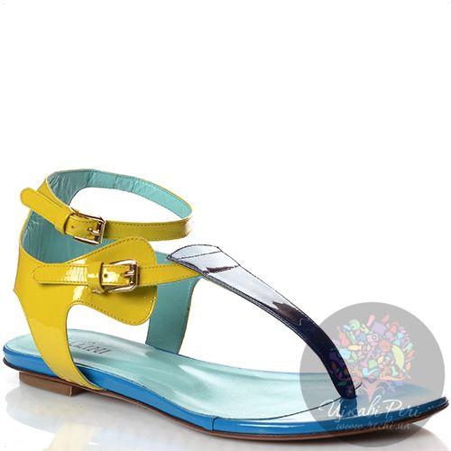 Сандалии Studio Pollini через пальчик кожаные лаковые сине-желтые, фото