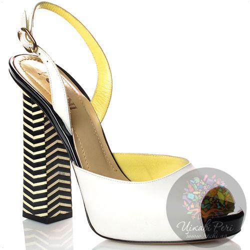 Босоножки Pollini кожаные белые на полосатом черно-белом каблуке-столбике, фото