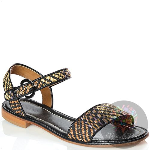Сандалии Studio Pollini кожаные с черно-бежево-коричневым плетением, фото