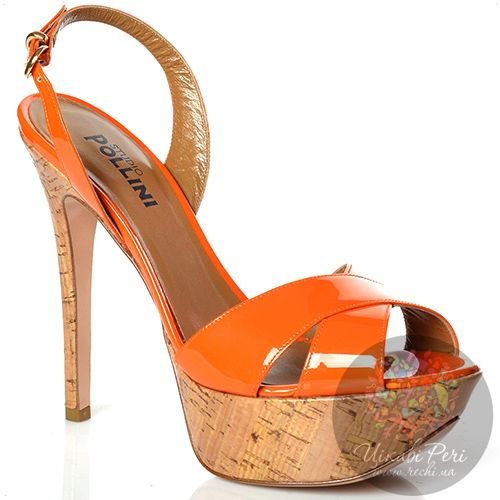 Босоножки Studio Pollini на высокой шпильке кожаные оранжевые лаковые, фото