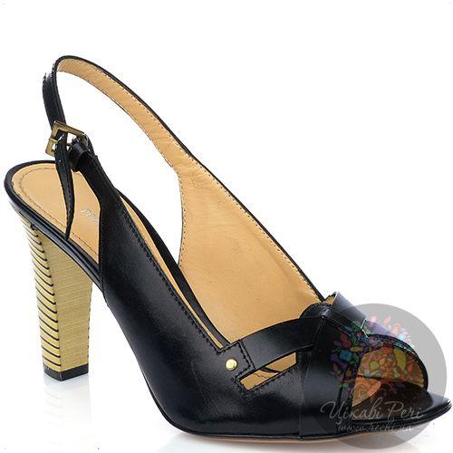 Босоножки Pollini из черной кожи на наборном каблуке-столбике, фото
