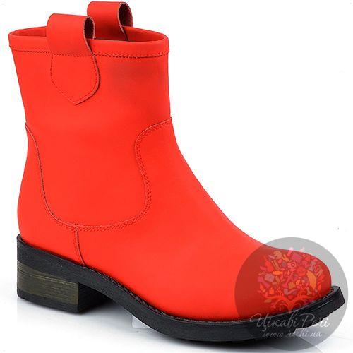Ботинки Studio Pollini без застежки из ярко-красного нубука, фото