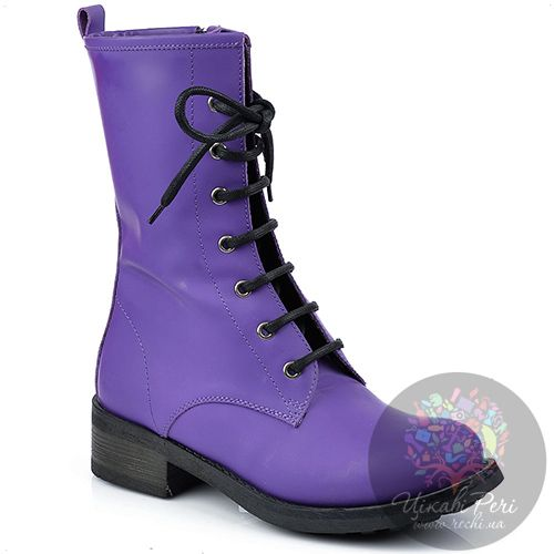 Ботинки Studio Pollini на шнуровке и молнии из ярко-фиолетового нубука, фото
