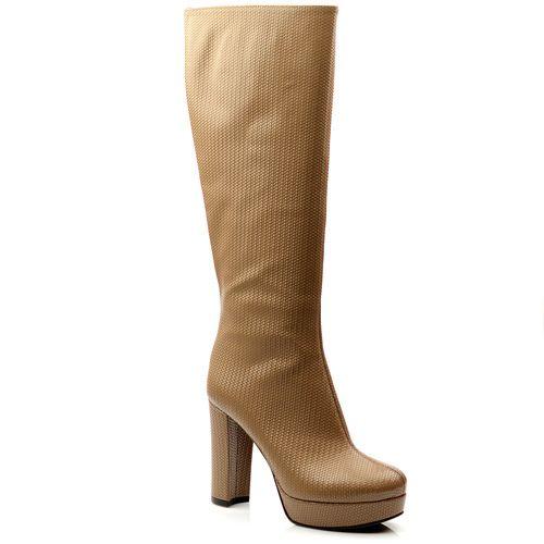 Женские кожаные сапоги Studio Pollini бежевые, фото