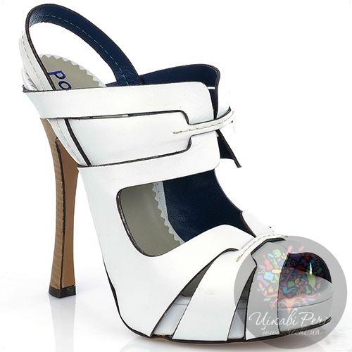 Босоножки Pollini из белой кожи на талированном наборном каблуке, фото