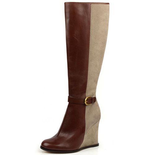 Женские кожаные сапоги Pollini из комбинированной кожи, фото