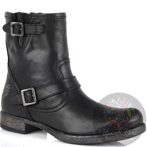 Высокие кожаные ботинки U.S. Polo черные женские в стиле гранж, фото