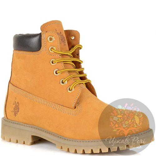 Женские ботинки U.S. Polo из нубука желто-рыжие на шнуровке, фото