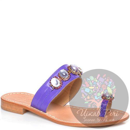 Сланцы Moda Positano Cristina из фиолетовой кожи с камнями, фото