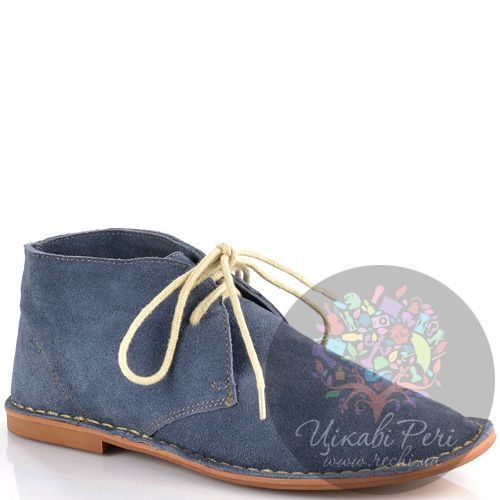 Ботинки Wigwam на низком ходу из серо-голубой замши на шнуровке, фото