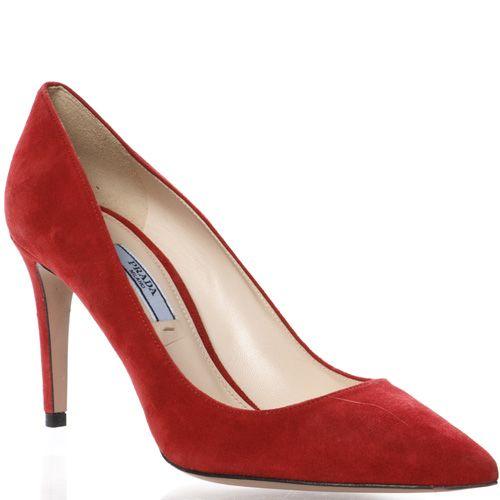 Лодочки Prada на шпильке замшевые красные, фото