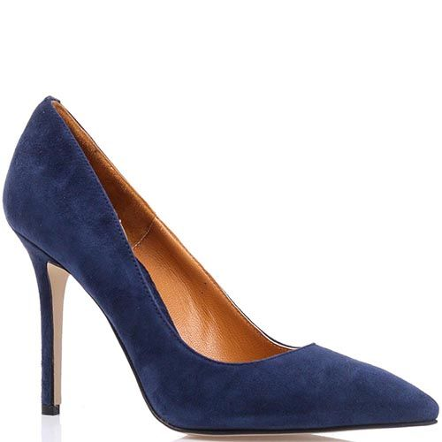 Туфли-лодочки Cafe Noir замшевые глубокого синего цвета на шпильке, фото