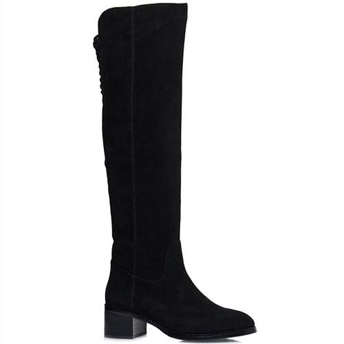 Замшевые сапоги Prego черного цвета на низком каблуке, фото