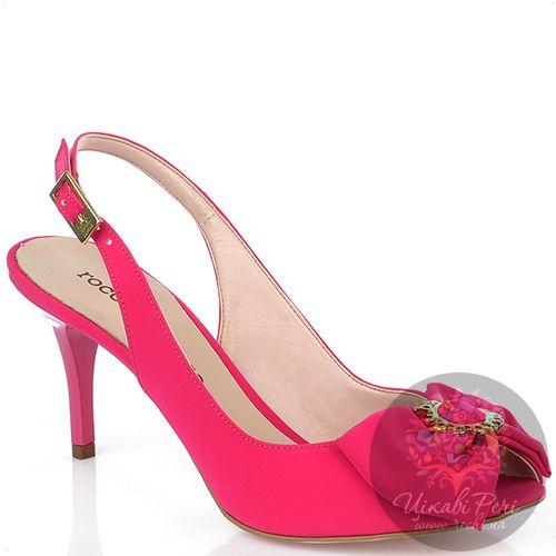 Босоножки roccobarocco ярко-розовые на небольшой шпильке, фото