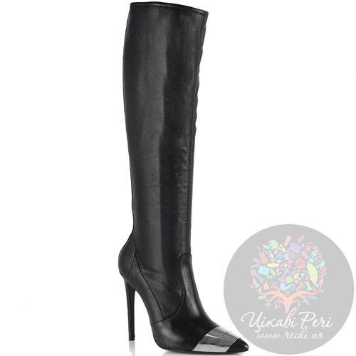 Кожаные сапоги-чулки на шпильке John Richmond черные красиво облегающие ногу, фото