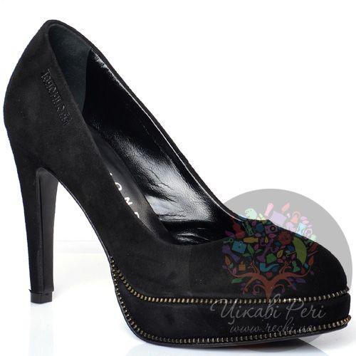 Туфли Richmond замшевые черные на шпильке и скрытой платформе, фото