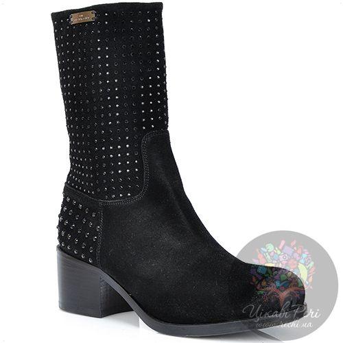 Ботинки Richmond осенние замшевые черные с затертым носком и стразами, фото