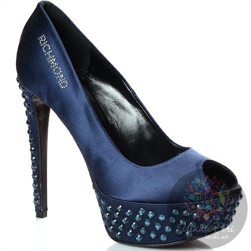 Туфли Richmond атласные темно-синие со стразами, фото