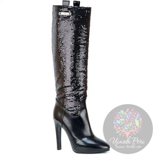 Сапоги Richmond кожаные черные с пайетками на роскошной шпильке, фото