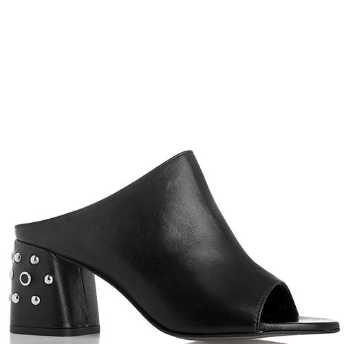 Mюли Rebecca Minkoff из гладкой кожи черного цвета с металлическим декором на каблуке, фото