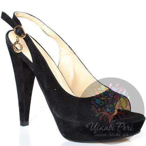 Босоножки roccobarocco черные замшевые на конусовидном каблуке, фото