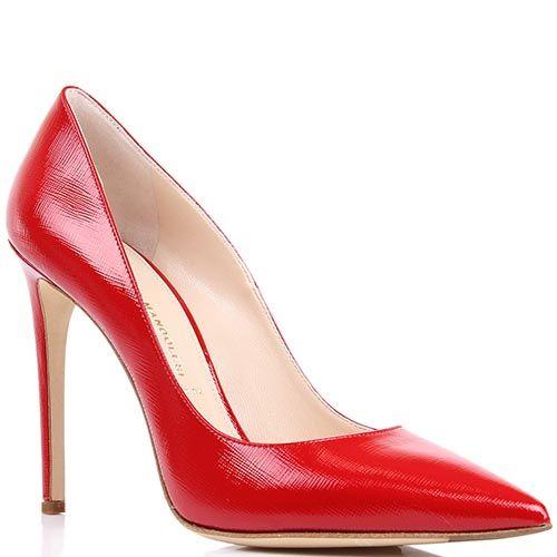 Туфли-лодочки Mascia Mandolesi красного цвета лаковые из кожи фактуры сафьян, фото
